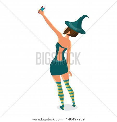 Beautiful girl in a witch costume makes selfie. Vector flat cartoon illustration isolated on a white background