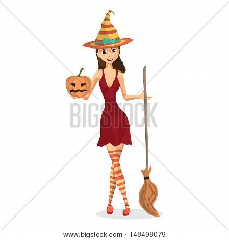 Beautiful witch in a red dress holding a pumpkin and a broom in the other hand. Vector flat cartoon illustration isolated on a white background