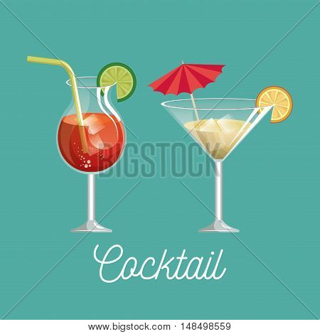 cocktail glass with lemon desing vector illustration eps 10