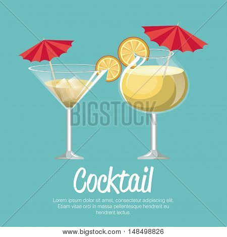 cocktail pineapple and martini with umbrella vector illustration eps 10