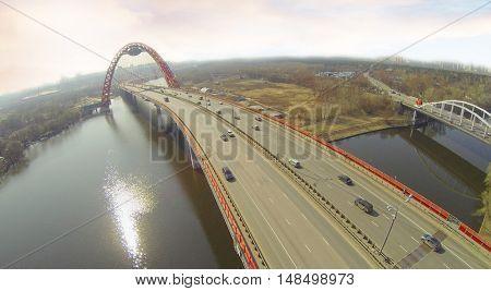 Zhivopisny bridge - suspension bridge over the Moscow river, Moscow, Russia, aerial view