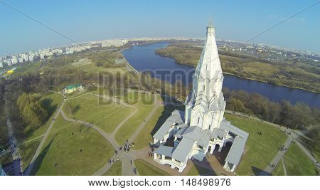 Edifice of Church of Ascension on shore of river in Kolomenskoe, aerial view. Church of the Ascension - Orthodox church Danilov deanery of the Moscow diocese