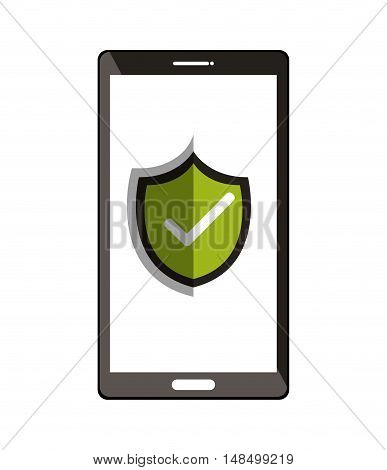 smartphone with checkmark symbol design vector illustration eps 10