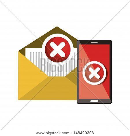 smartphone and email error symbol design vector illustration eps 10