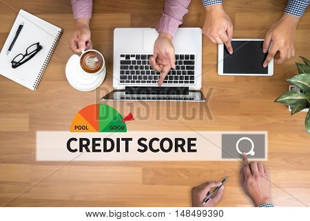 Credit Score  (businessman Checking Credit Score Online And Financial Payment Rating Budget Money)
