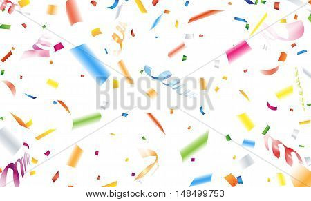 Close up falling confetti and streamer on white background