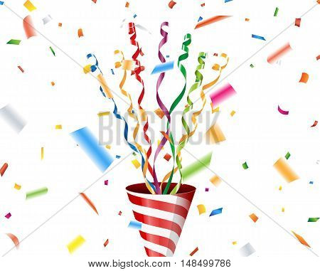 Party popper with confetti and streamer on white background