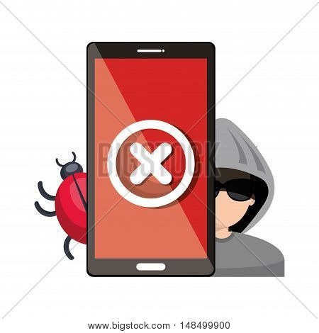 smartphone virus hacker alert design graphic vector illustration eps 10