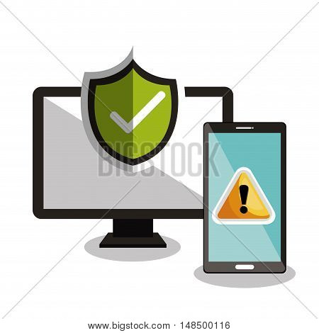 technology warning and checkmark design vector illustration