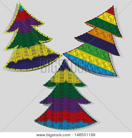 Christmas tree handmade Set of three bright knitted from a thread tree, New Year the gadget style knitwear with overlocker shadow vector illustration eps10 stock