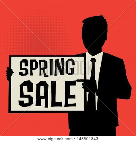 Man showing board business concept with text Spring Sale vector illustration