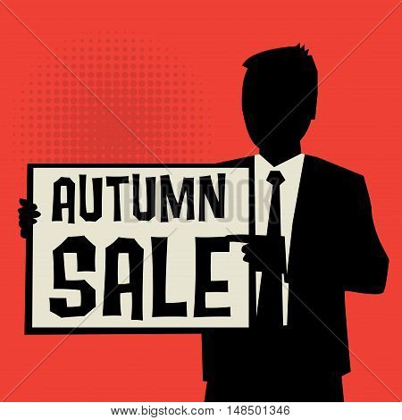 Man showing board business concept with text Autumn Sale vector illustration