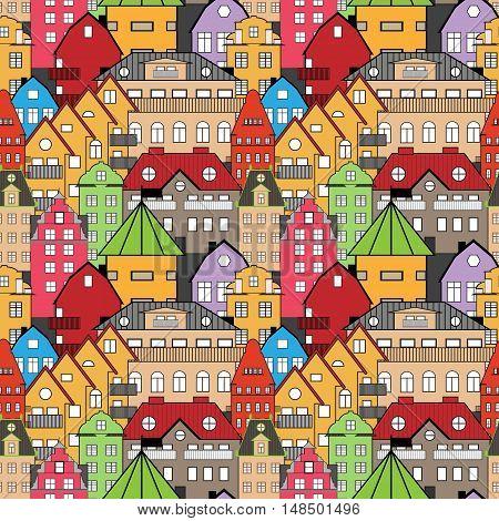 Seamless pattern sweden houses vector illustration. Background, illustration for bag, satchel, carrier bag, tile.