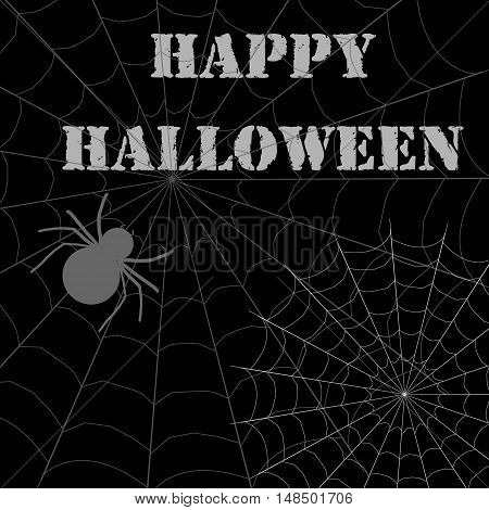 Happy halloween with spider happy halloween vector graphic illustration of a black background poster web spiders inscription