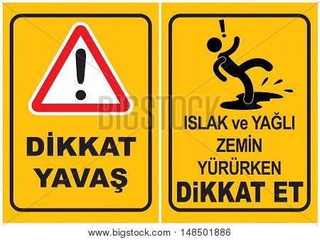 Occupational Safety and Health Signs. Turkish Spelling