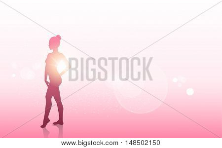 Breast Cancer Awareness Concept Female Body Silhouette Vector Illustration