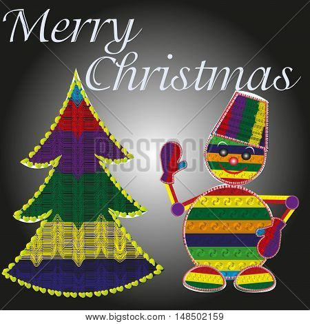 Merry Christmas greeting card Knitted Greeting Card  Abstract bright picture Christmas or New Year, knitted strip in the tree and snowman with hat and a mitten object overlocker background eps10 Stock vector illustration