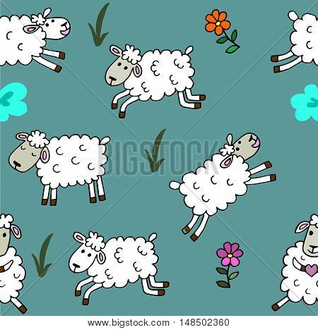 high quality original trendy vector Seamless pattern with sheep colored for babyroom