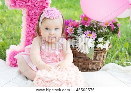 Portrait of a cute adorable Caucasian baby girl in pink dress celebrating her first birthday