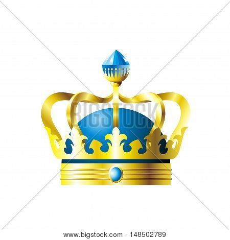 Crown with a blue crystal on a white background. Vector illustration
