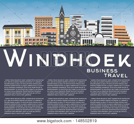 Windhoek Skyline with Color Buildings, Blue Sky and Copy Space. Business Travel and Tourism Concept with Modern Buildings. Image for Presentation Banner Placard and Web Site.