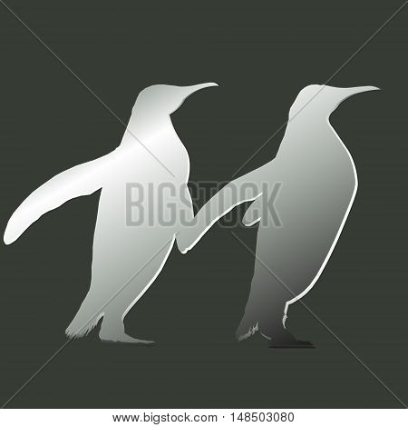 One pair of penguin Design abstract drawing style applique contour image two birds go forward together vector illustration