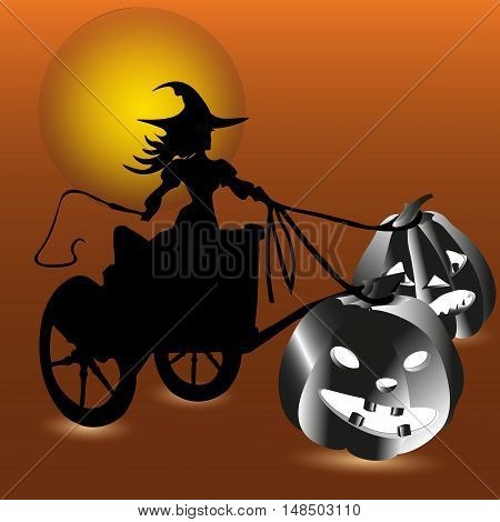Witch and two pumpkin invitation Abstract halloween Bookcover of or card style silhouette sketch Enchantress rides on a cart in hand whip two vegetable chariot driven by the moon shining night vector illustration