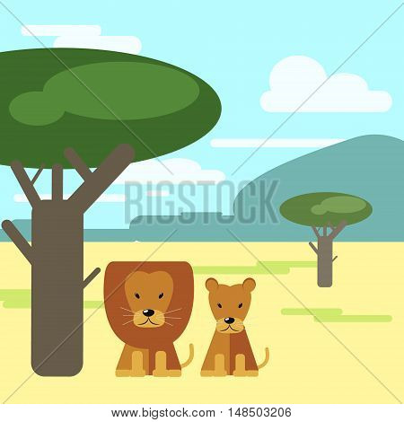 Lion and Lioness sitting under a tree in the savannah . Animals of Africa. Vector illustration of a flat