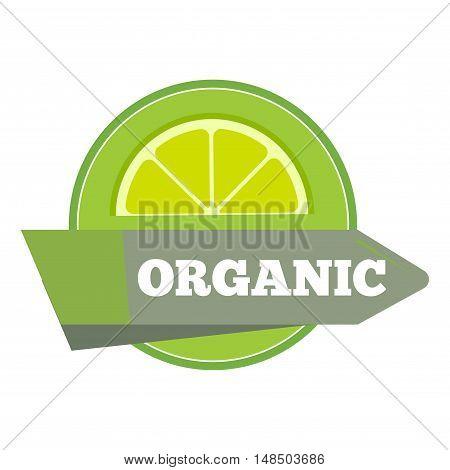 Organic natural fruit juice label template. Logo fresh food, vector illustration