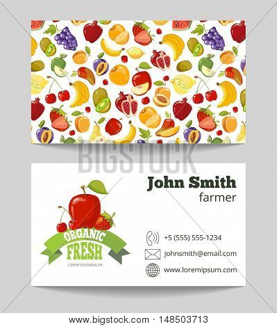 Organic fruits farmer business card template. Business with natural fruit. Vector illustration