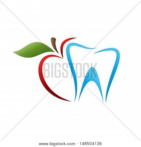 Vector sign dentist. Bite the apple isolated illustration