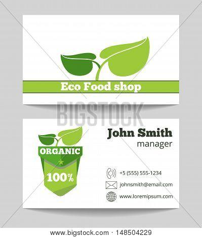 Organic eco food shop business card template. Fresh green market. Vector illustration