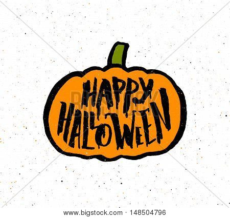 Vintage poster with scary hand lettering text Happy Halloween on flat orange pumpkin. Decoration design element for halloween party banner.