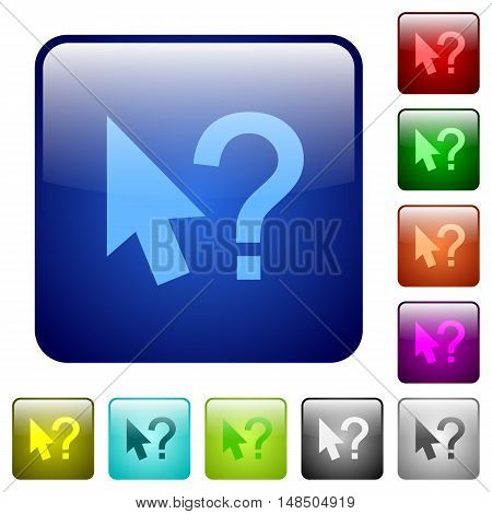 Set of help cursor color glass rounded square buttons