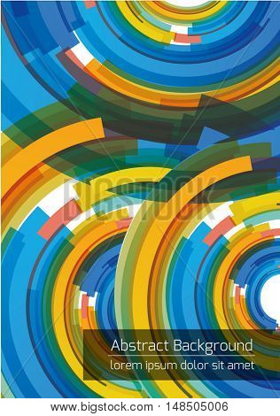 Abstract background design with blue and yellow circles. Vector template.