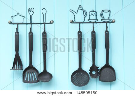 ladles hanging on the wall. Kitchenware. Home decoration.