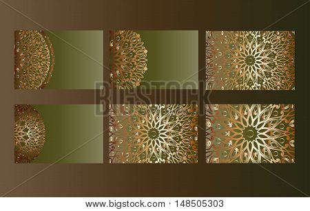 Big templates set with beautiful unusual backgrounds. Business cards, invitations and banners. Floral mandala pattern and ornaments. Oriental design. Hand drawn vector stock illustration