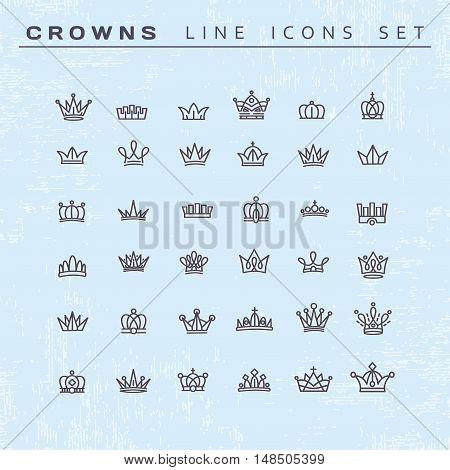Vector heraldic elements design. Set of black line crowns