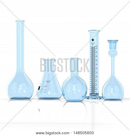 3D render illustration. Laboratory blue glassware on white background