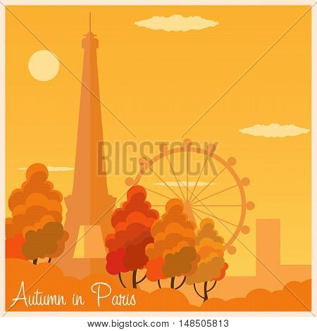 Autumn In Paris. France. Autumn Vector Illustration. Eiffel Tower