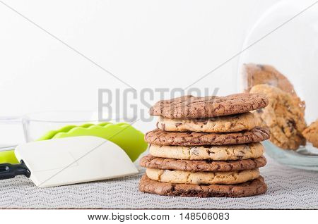 stacked peanut butter and chocolate overload cookies