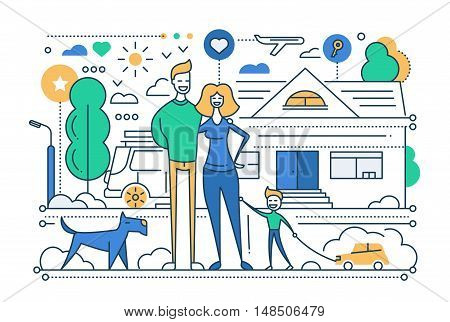 Family life - vector modern line flat design city composition with a happy family