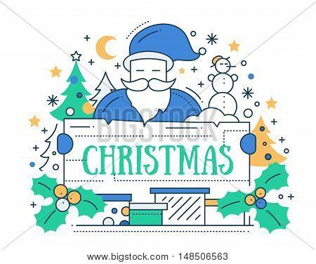 Merry Christmas line flat design card with holidays symbols - Santa Claus, Christmas tree, mistletoe, banner