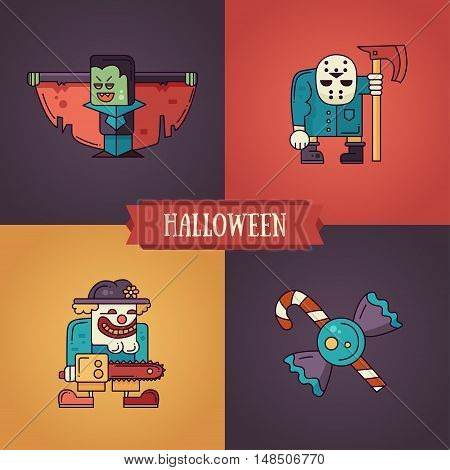 Halloween - modern vector line flat design characters icons set. Funny scary vampire, clown, candies