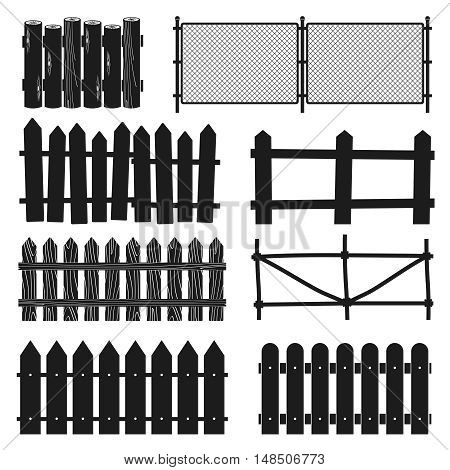 Rural wooden fences, pickets vector silhouettes. Illustration of paling straight for protection and security