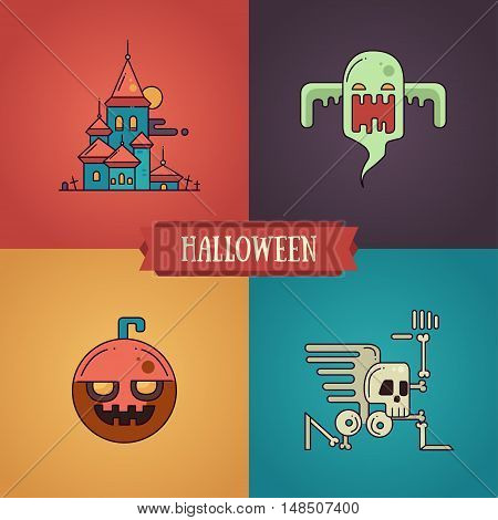Halloween - modern vector line flat design characters icons set. Funny scary cemetery, ghost, pumpkin, skeleton