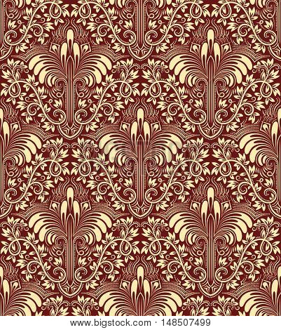Damask seamless pattern repeating background. Ivory burgundy floral ornament in baroque style.