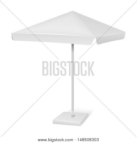 White promotional square advertising parasol umbrella isolated on white background. Vector mockup canopy for protect from sun