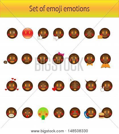 Emoji emotions vector set black color with smile face
