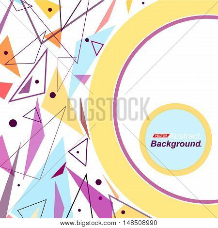 Abstract Concept. Minimalistic Fashion Backdrop Design. Patch Blue, Purple Flying Triangles. White F